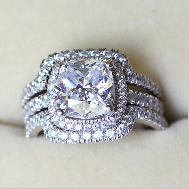 Victoria Wieck Cushion cut 8mm Stone 5A Zircon stone 10KT White Gold Filled Lovers 3-in-1 Engagement Wedding Ring Set Sz 5-11
