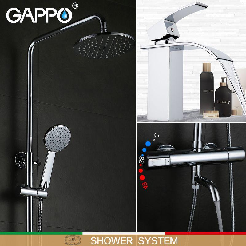 GAPPO bad wasserhahn thermostat mischbatterie wasserfall wand montiert thermomischer Becken Wasserhahn dusche system