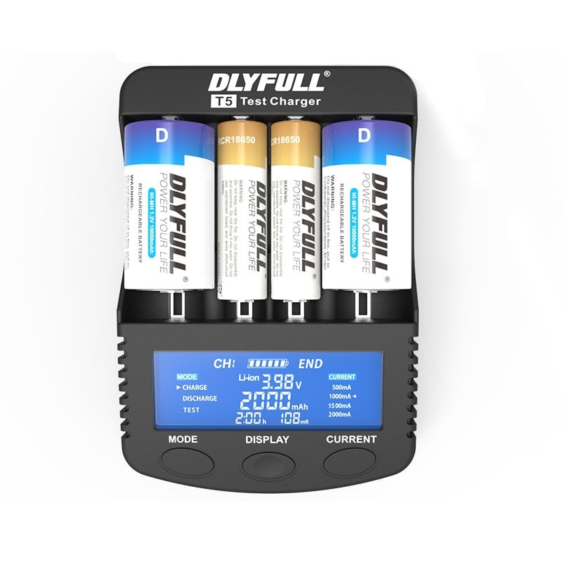 DLYFULL T5 Battery Charger for LCD 18650 14500 26650 32650 NiMH NICD A AA AAA AAAA C SC D with power bank Fast Battery Charger