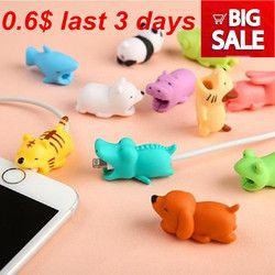 1 Pcs Kabel Gigitan Pelindung untuk iPhone Kabel Winder Pemegang Telepon Aksesori Chompers Kelinci Hewan Anjing Kucing Model Boneka Lucu