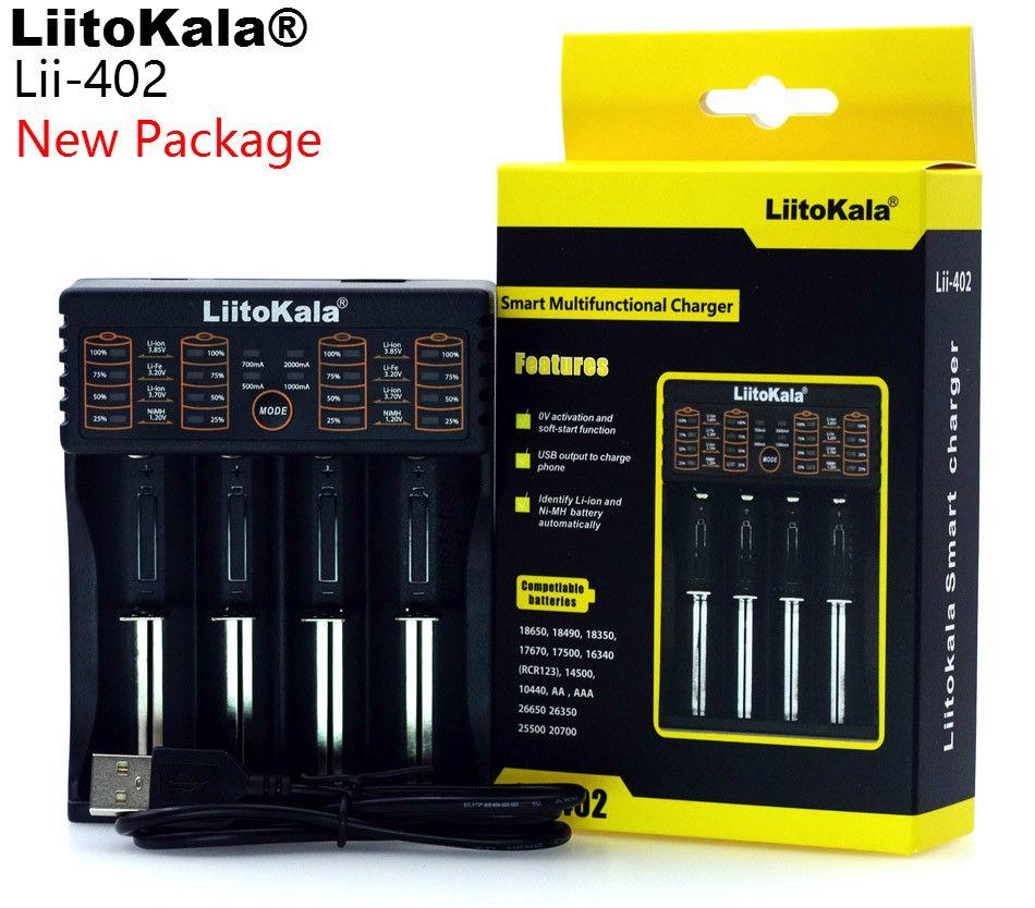 LiitoKala Lii-100 lii-202 Lii-402 1,2 V/3 V/3,7 V/4,25 V 18650/26650/18350/16340/18500/AA/AAA NiMH lithium-batterie-ladegerät