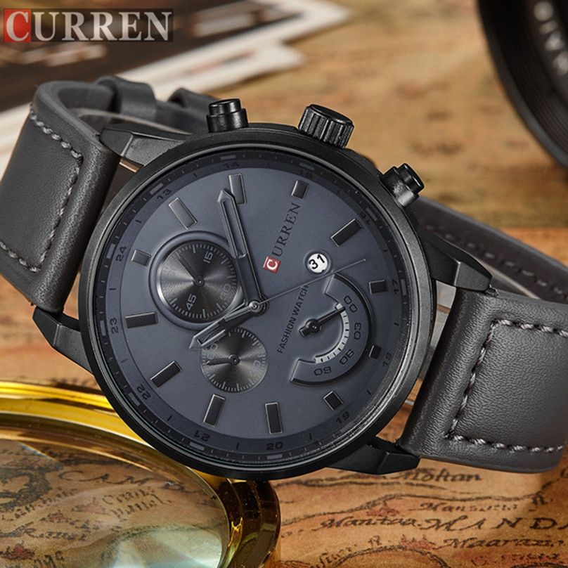 CURREN Relogio Masculino Mens Watches Top Brand Luxury Leather Fashion Casual Sport Clock Quartz Watch Men Military Wristwatches