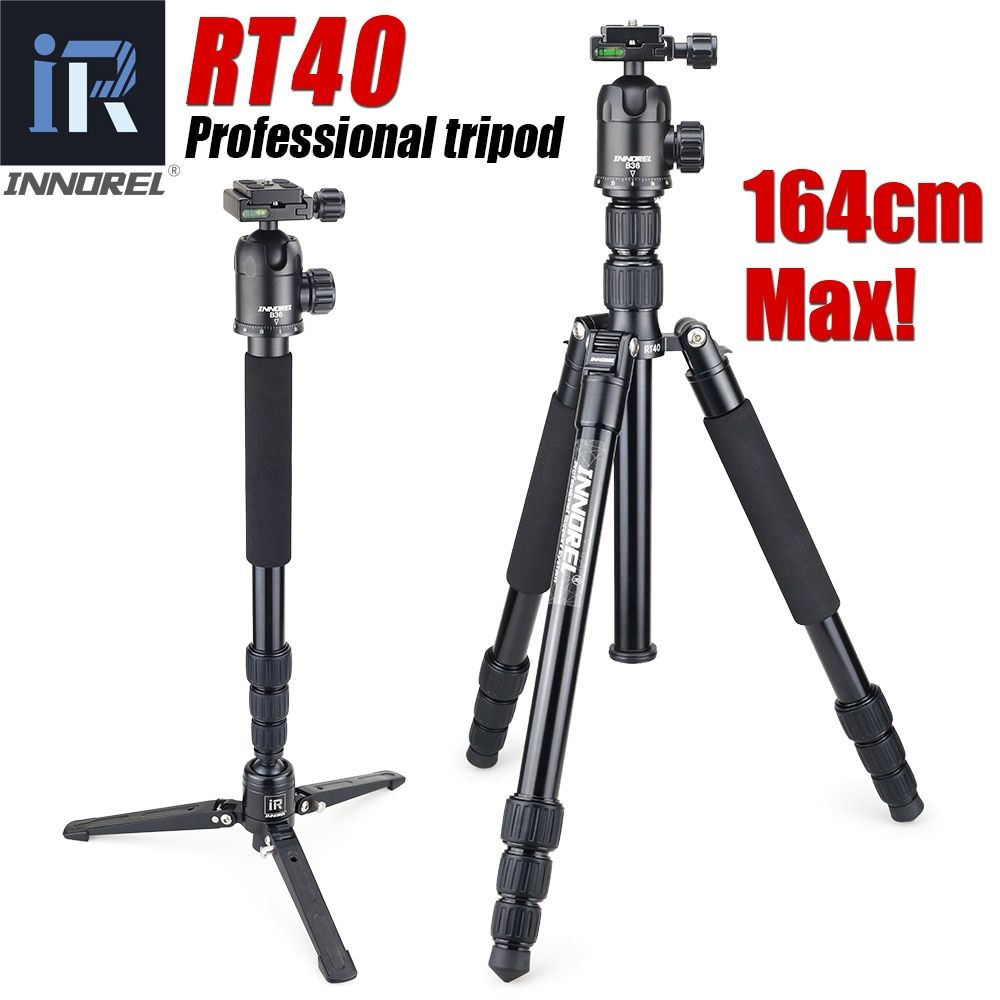 RT40 Professional Travel tripod monopod Compact Aluminum camera stand for DSLR Camera Upgraded from E306 Better than Q999 Q999S