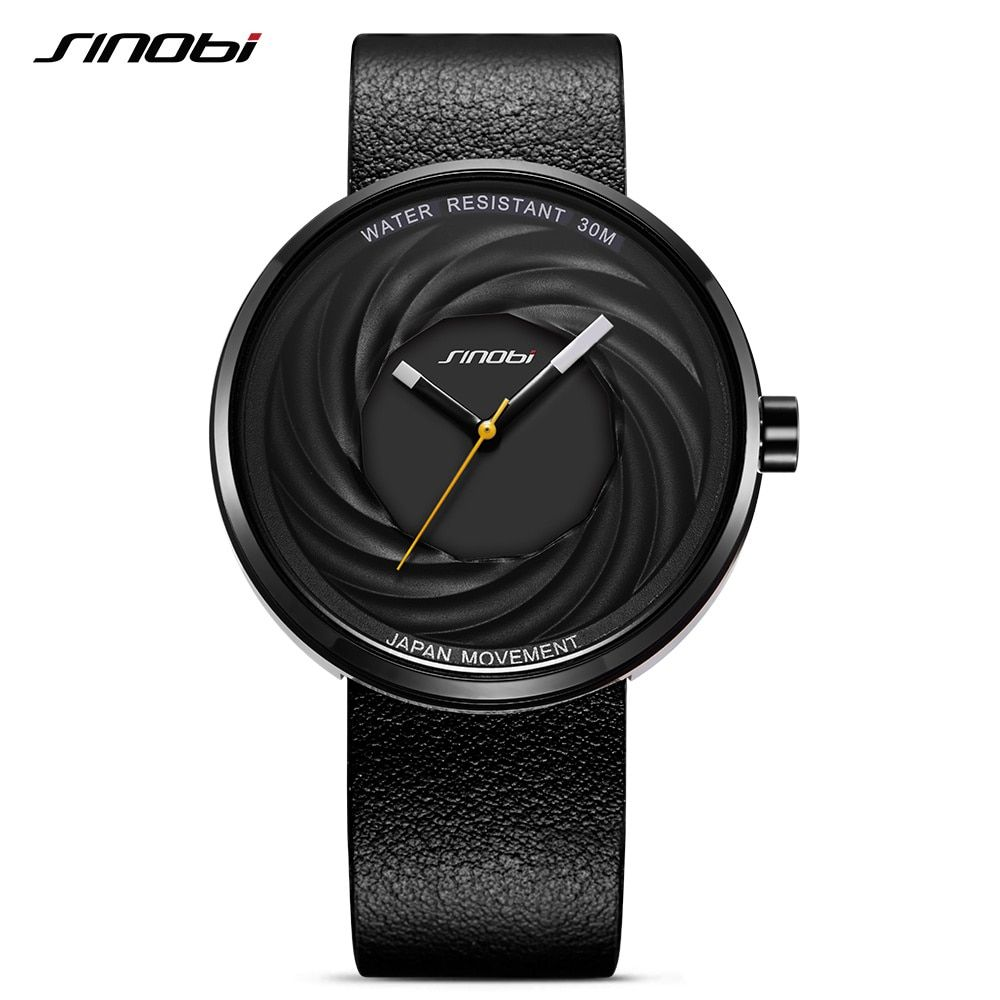 SINOBI Марка Для мужчин Часы унисекс модные Пояса из натуральной кожи Наручные часы Японии кварцевые часы творческого Спортивные часы Reloj Hombre