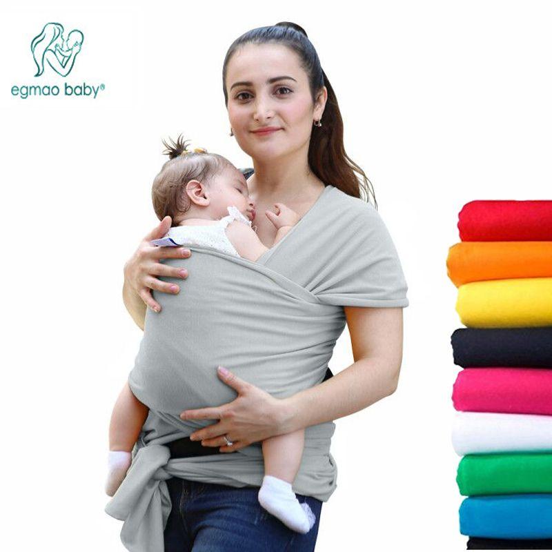 EGMAO confortable mode infantile fronde doux naturel Wrap porte-bébé sac à dos 0-3 ans respirant coton Hipseat couverture d'allaitement