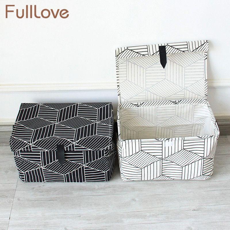 FullLove Géométrique Jouets Panier De Rangement en Lin Coton Noir Blanc avec Couvercle Boîte De Rangement Bacs Vêtements Papeterie Livres Organisateur