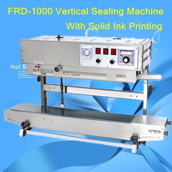 100% Warranty Stainless steel FRD-1000V Vertical Solid ink coding band sealer,Full English panel machine,quanlity are reliable