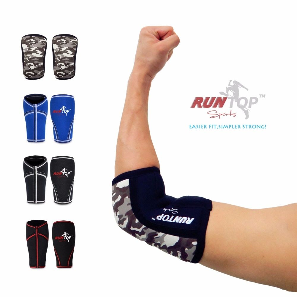 RUNTOP Neoprene Elbow Sleeves Crossfit Weight Lifting Powerlifting Workout Fitness Knee Brace Cap Pads Support Compression