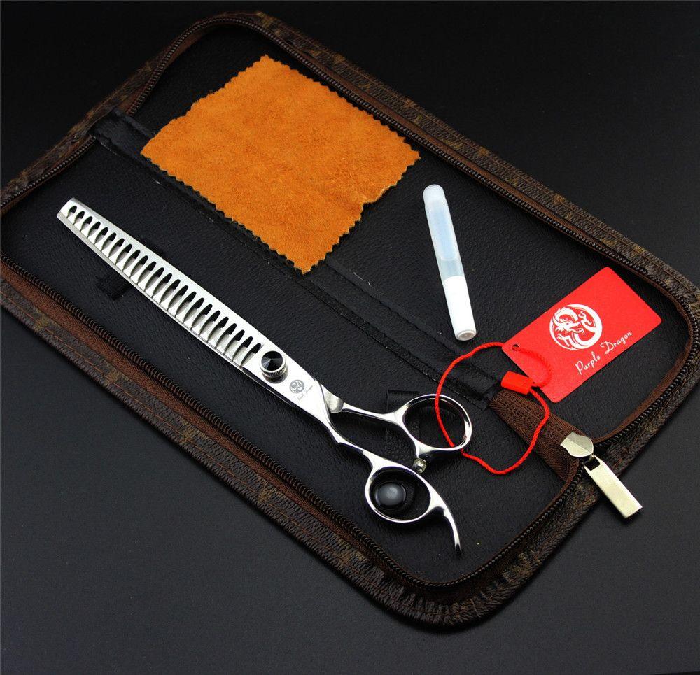 Lila Drache Linkshänder 8,0 zoll Hundesalon Schere Kits Pet Effilierschere Hündchen Haarschnitt Schere 21 Zähne + tasche