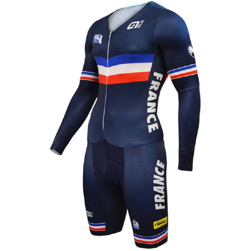 ALE France Team 2018 Cycling Jerseys Long Sleeves Cycling Skinsuit Set Triathlon Conjoined Ropa Ciclismo Cycling Jumpsuit