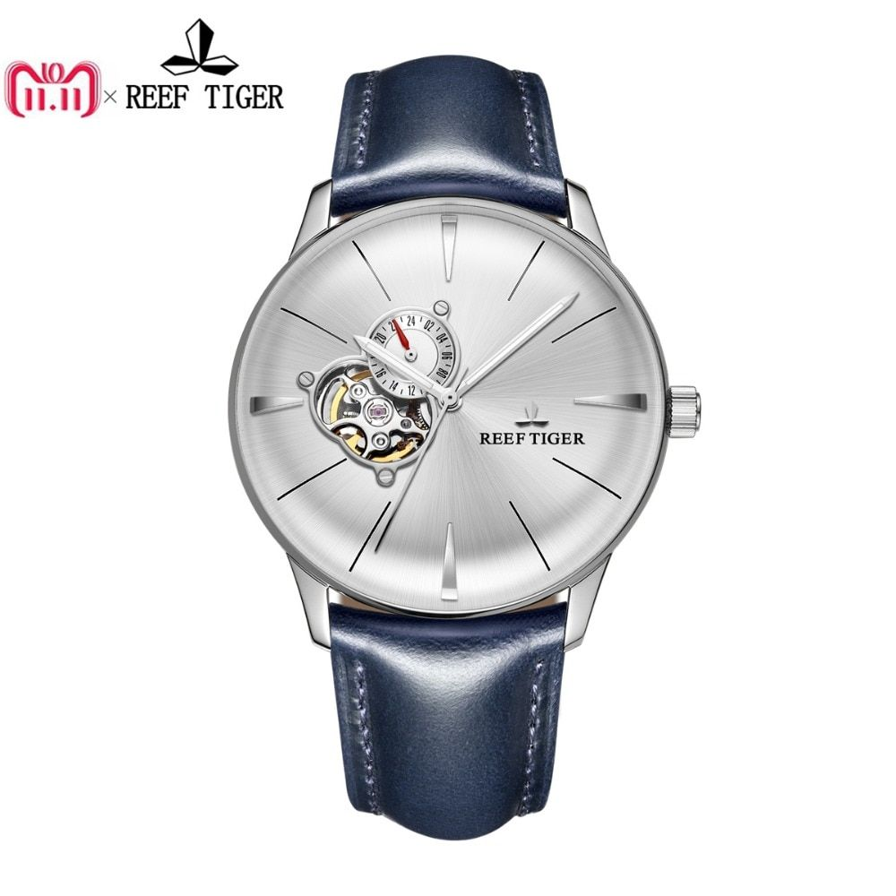Neue Riff Tiger/RT Kleid Uhren für Männer Blau Leder Stahl Uhr Konvexen Objektiv Glas Tourbillon Automatische Uhren RGA8239