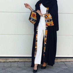Musulman Abaya Robe Imprimée Cardigan Longue Robe Robes Kimono Jubah Ramadan Moyen-Orient Thobe Culte Islamique Prière Vêtements