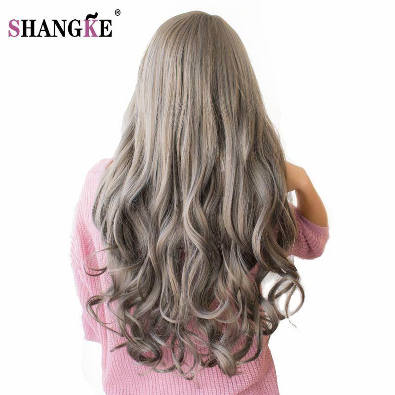 SHANGKE 26 ''Longs Ondulés Perruques De Cheveux Colorés Résistant À La Chaleur Synthétique perruques Pour Noir Blanc Femmes Naturel Femelle Cheveux Pièces 7 couleurs