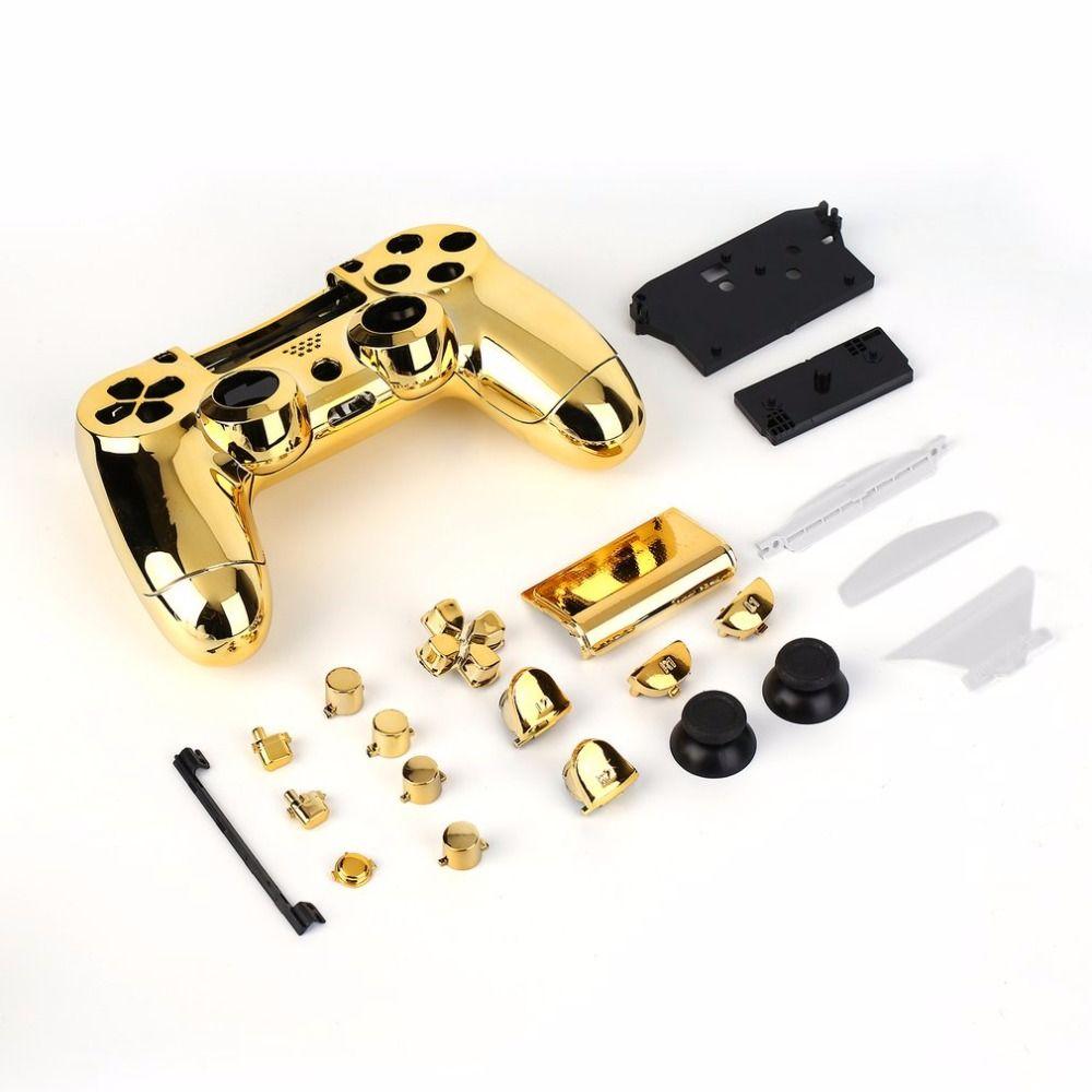 Полный Корпус В виде ракушки чехол кожного покрова и пуговицы набор с полным Пуговицы mod kit замена для Playstation 4 PS4 контроллер золото