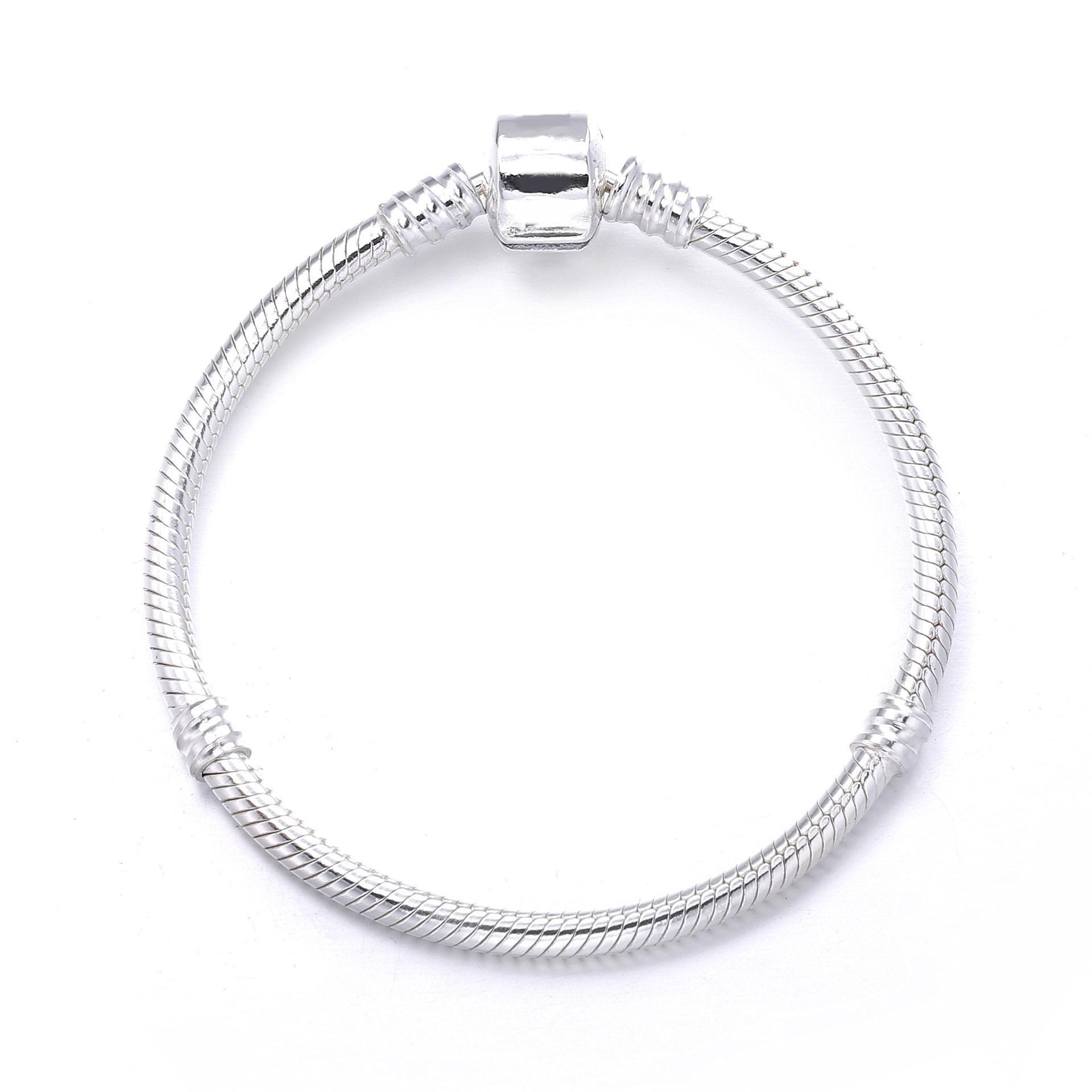 PDB6 ZTUNG S925 Sterling Silver Snake Chain Bracelet classic bursting foundation DIY beads Beaded Bracelet
