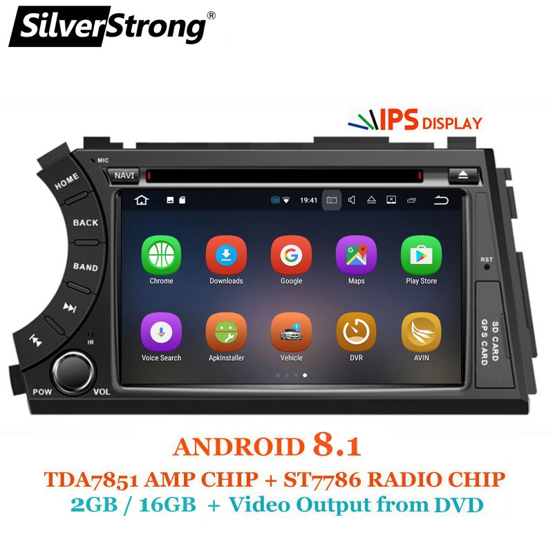 SilverStrong IPS Android8.1 2DIN Car DVD for Ssangyong Actyon Kyron DVD Video output to headrest car gps 2 din for korando
