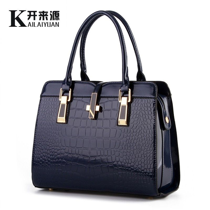 KLY 100% Genuine leather Women handbag 2018 New bright patent leather crocodile pattern fashion shoulder shoulder ladies bags