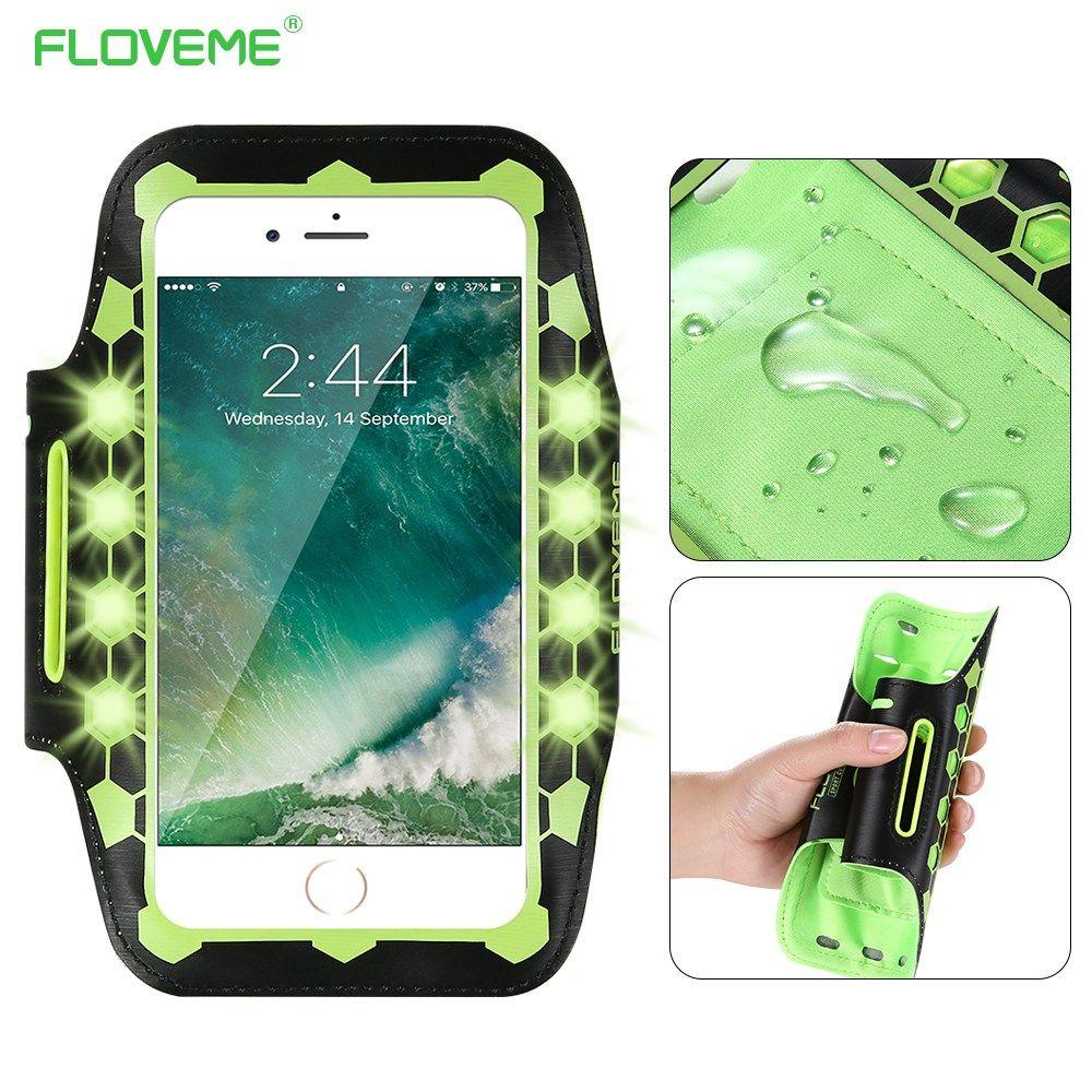 FLOVEME 5.5 pouces universel lumière LED Brassard étui pour iphone 6 6 s 7 Plus lumineux course bras bande Sport Brassard téléphone pochette