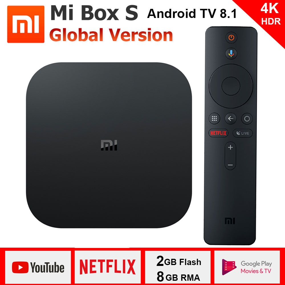 Xiao mi Box S 4 K TV Box Cortex-A53 Quad Core 64 bits Mali-450 1000Mbp Android 8.1 2 GB + 8 GB HD mi 2.0 2.4G/5.8G WiFi BT4.2 dernière