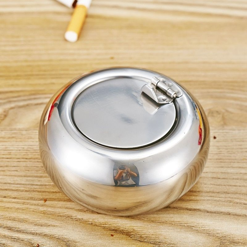 Stainless Steel Drum Shape & Lid Ashtray with Cover Ashtray Car Ashtray Cigarette Cigar Smokeless Ash Tray