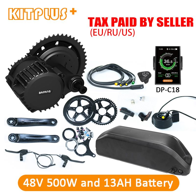 Bafang BBS02 500W E Bike Kit 48V 500W Mid Drive Bafang Motor DIY with 13AH Lithium Ebike Battery Electric Bike Kit with Battery