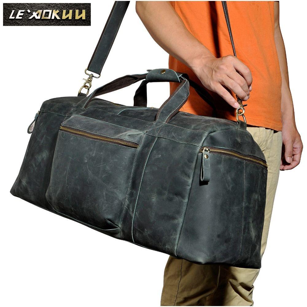 Men Original Leather Large Capacity Duffle Travel Luggage Bag Male Fashion Designer Suitcase Shoulder Travel Tote Bag 3273