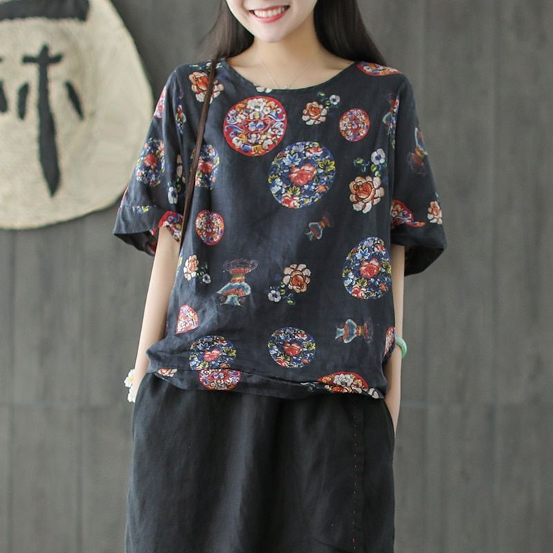 Short-sleeved Linen T-shirt With Loose Round Collar, Digital Printing, Thin Summer Tops