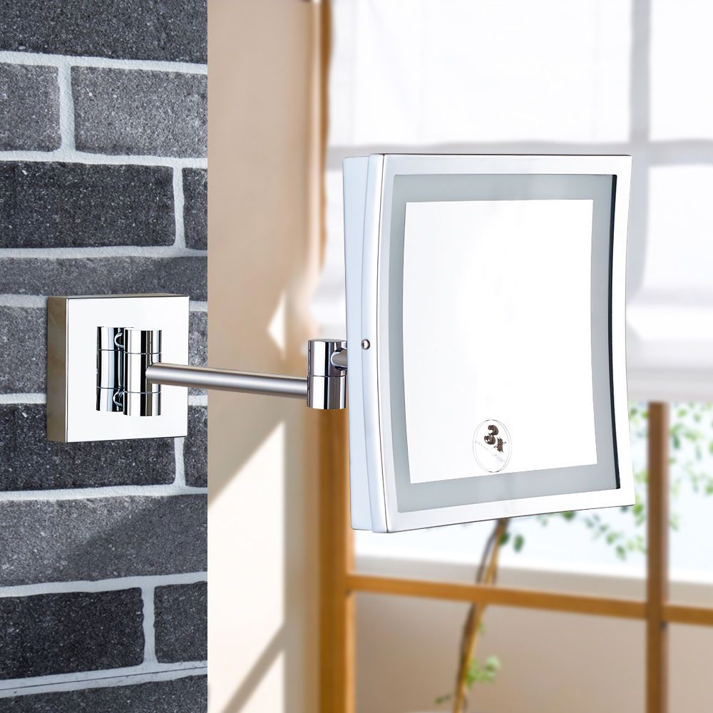 GURUN Wall Mounted Magnifying Bathroom Led Lighted illuminated Makeup Mirror Framed Square Extendable Shaving Mirrors Chrome