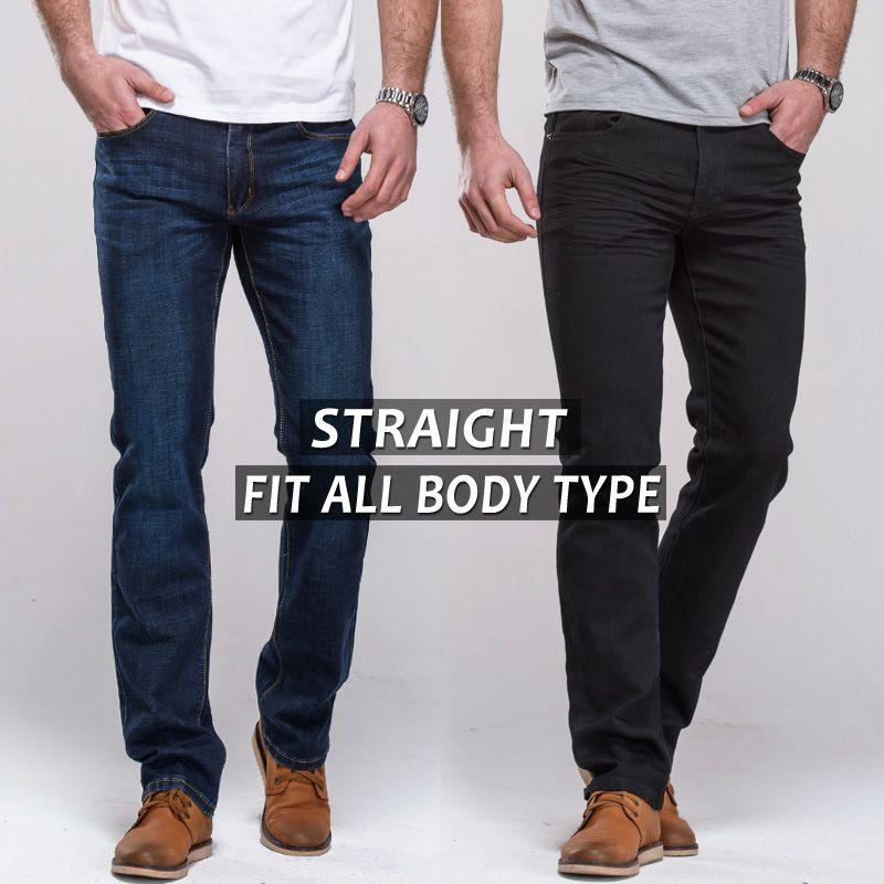 Pantalones Vaqueros de los hombres straight fit classic denim Jeans Pantalones de marca famosa pantalones azul negro ocasional pantalones largos pantalones vaqueros