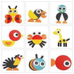 Anak Kayu DIY Kreatif Inovatif Gabungan Puzzle kartun hewan Puzzle Mainan Untuk Bayi anak usia dini mengajar mainan