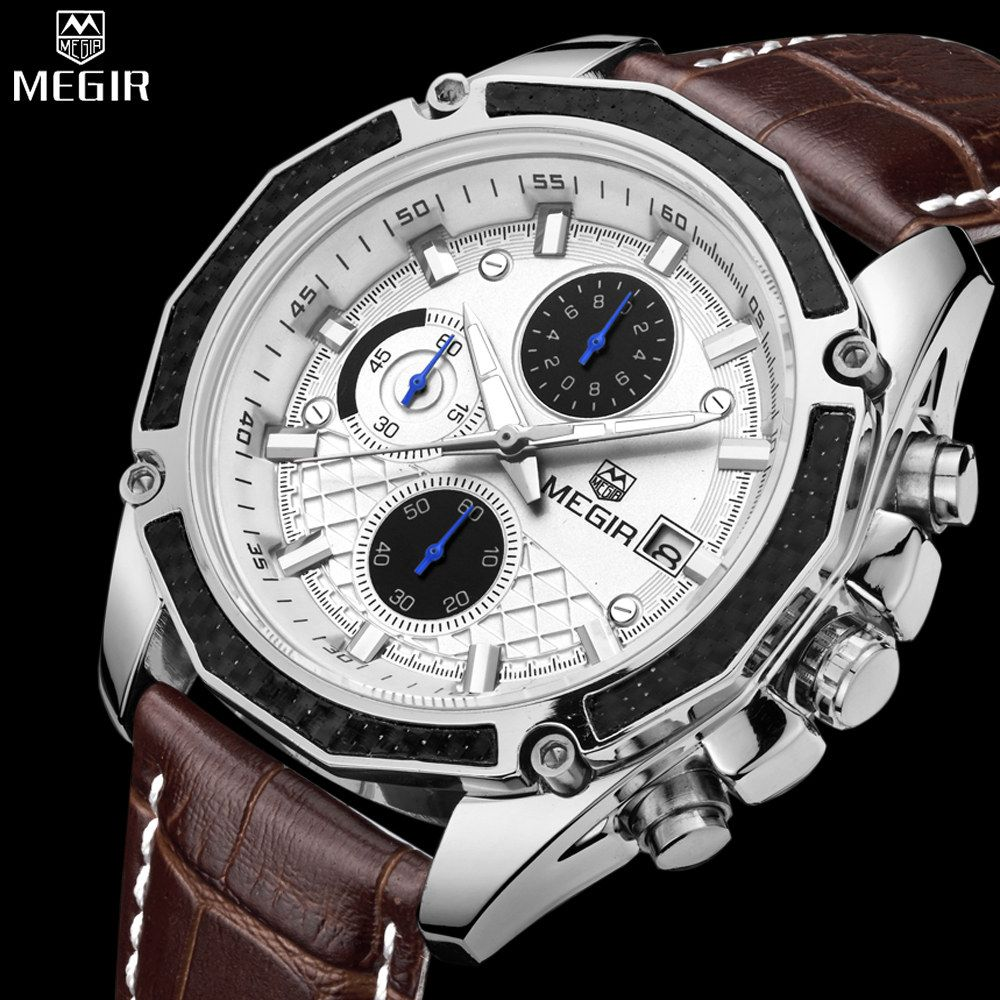 Genuine MEGIR quartz male watches Genuine Leather watches racing men Students game <font><b>Run</b></font> Chronograph Watch male glow hands