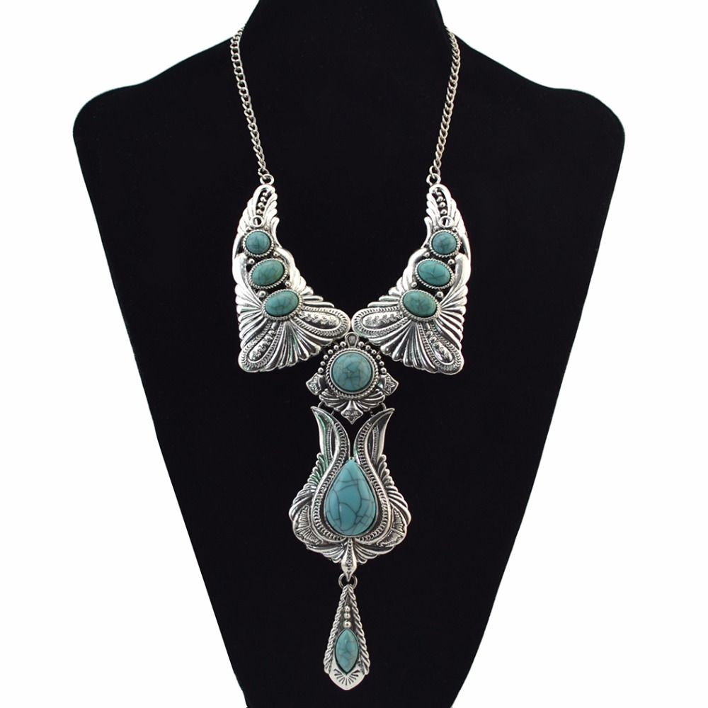 3 Colors Bohemian Vintage Silver Natural Stone Pendant Necklace For Women Fashion Charm Jewelry
