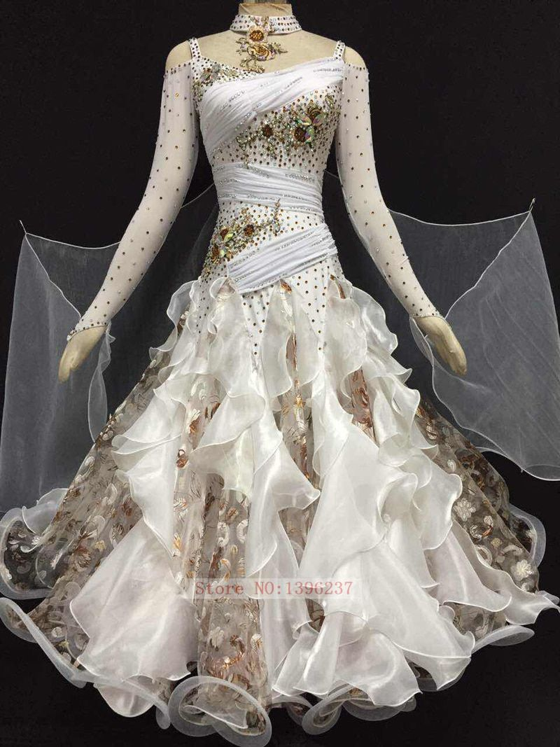 Standard Ballroom Dancing Dresses Lady's Long Sleeve White Color Tango Waltz Costume Ballroom Competition Dance Dresses