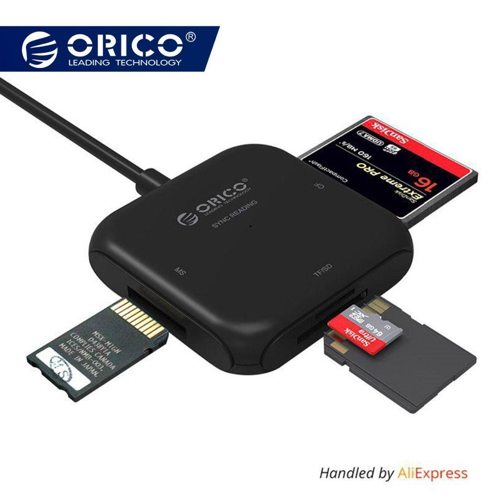 ORICO 4 in 1 USB 3.0 Smart Kartenleser Flash Multi Memory Card Reader für TF/SD/MS/ CF 4 Karte Lesen und Schreiben Gleichzeitig