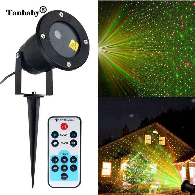 Tanbaby Neue Jahr Fee Laser Landschaft Leuchtet mit Fernbedienung Projektor Outdoor LED Rot Grün Sterne Bewegung Dusche Projektion Beleuchtung