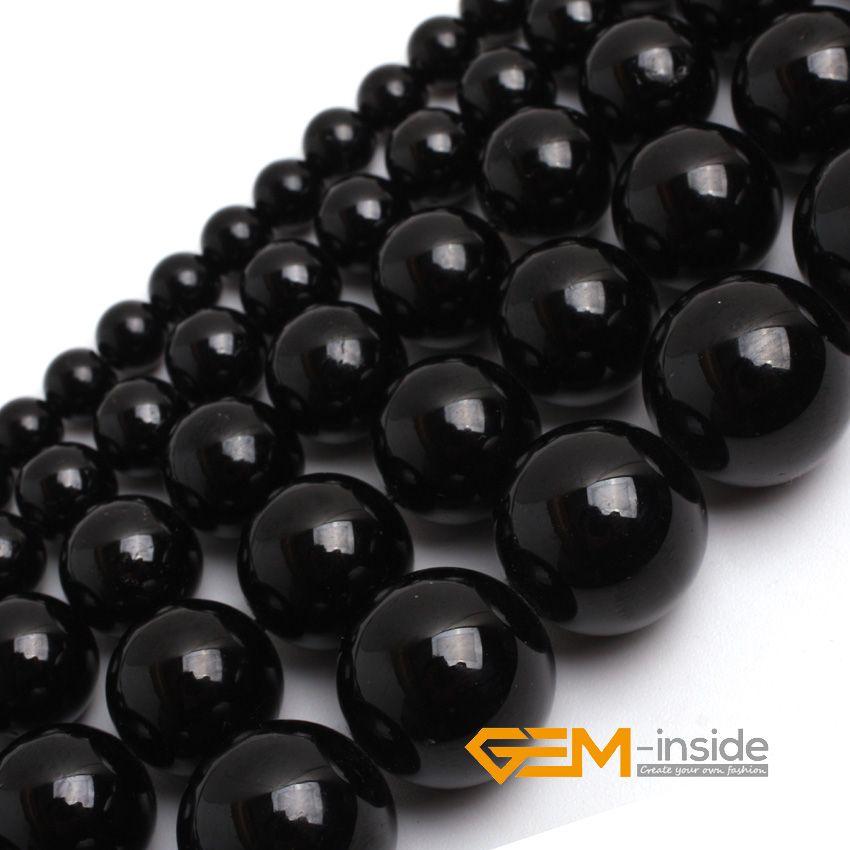 Pierre naturelle Tourmaline noire ronde perles en vrac pour la fabrication de bijoux brin 15