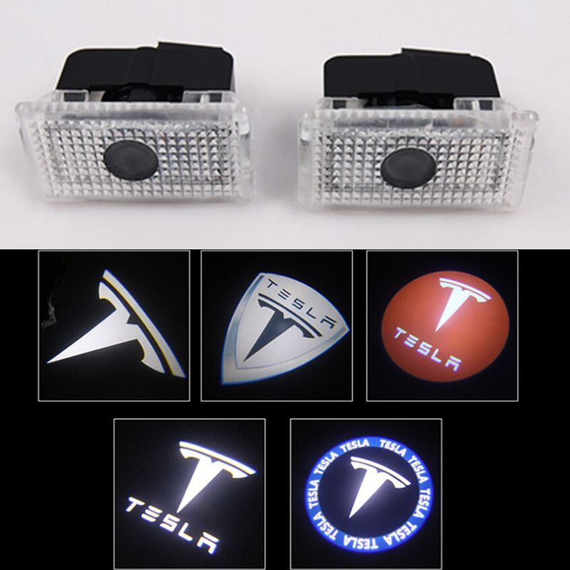 2 pcs/lot voiture LED courtoisie fantôme ombre bienvenue lumière Laser logo projecteur porte lampe pour Tesla modèle S X modèle 3 modèle Y