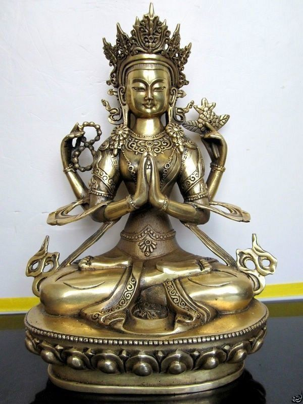 28 cm * /The ancient Chinese bronze four arm guanyin white tara Buddha in Tibet metal handicraft
