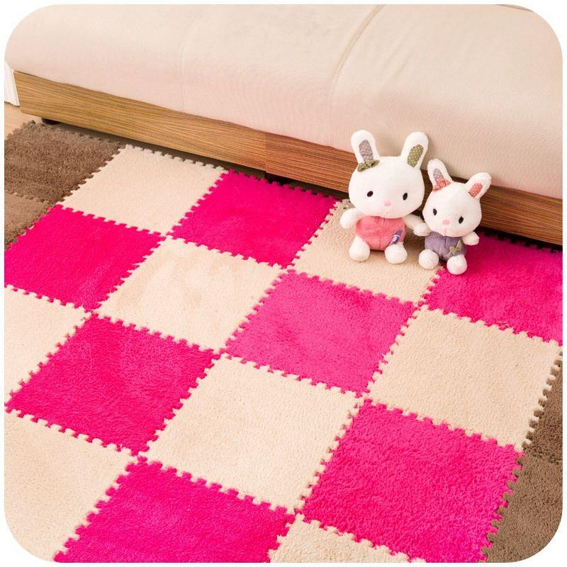 Nuevo 9 Unids/set 30*30*1 cm de Largo pelo piel de espuma eva rompecabezas alfombra del piso, bebé que gatea área de corte alfombra, alfombra de juego para niños sala de estar
