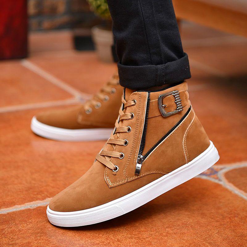 Hot 2017 Hombres Acuden Zapatos Casuales de Cuero de Moda de Corea Otoño Invierno hombres Tobillo Botas de Los Hombres de Alta Superior Zapatos de Hombre Hebilla Botas de Cremallera