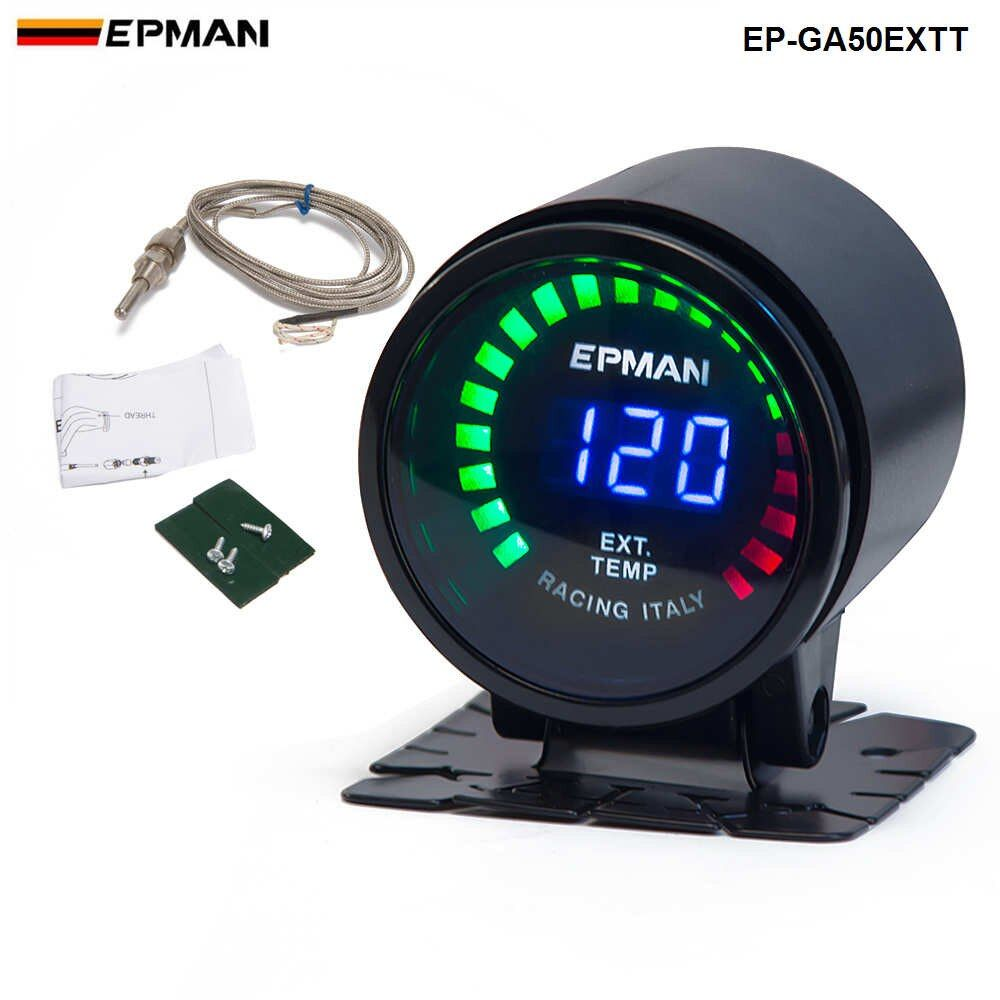 Epman Racing 2 52mm Smoked Digital Color Analog LED Exhaust Gas Temperature EXT Gauge With Sensor For BMW 6CY EP-GA50EXTT