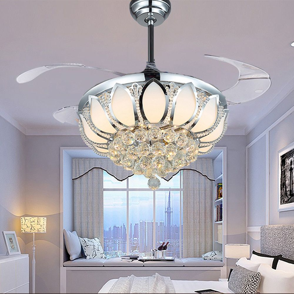 Modern Ceiling Fan Crystal Ventilador De Teto Remote Control With Lights Invisiable LED Folding Ceiling Fan Dining Room Lamp