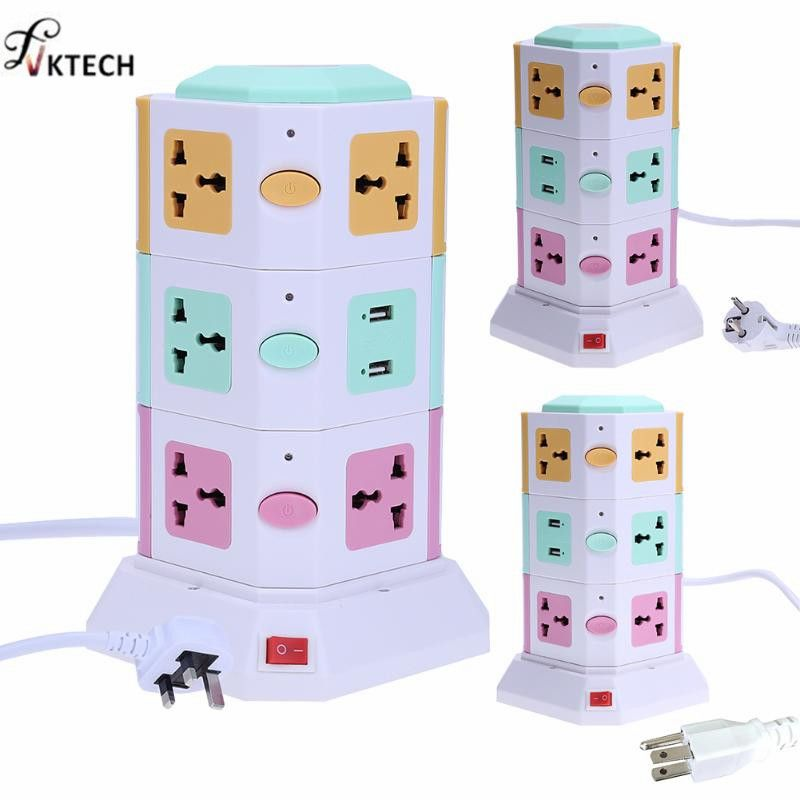 Universal Smart Electrical Plugs Vertical Power Socket Outlet AC Power Suit +2 USB Ports With Independent <font><b>Switch</b></font> Sockets