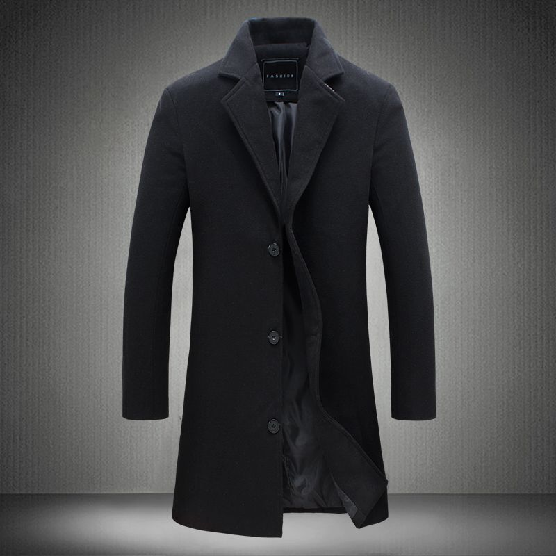Men's Casual Long Wool & Blends New Fashion Male Autumn Single Breasted Woolen Coats Outwear Trench Long Jackets