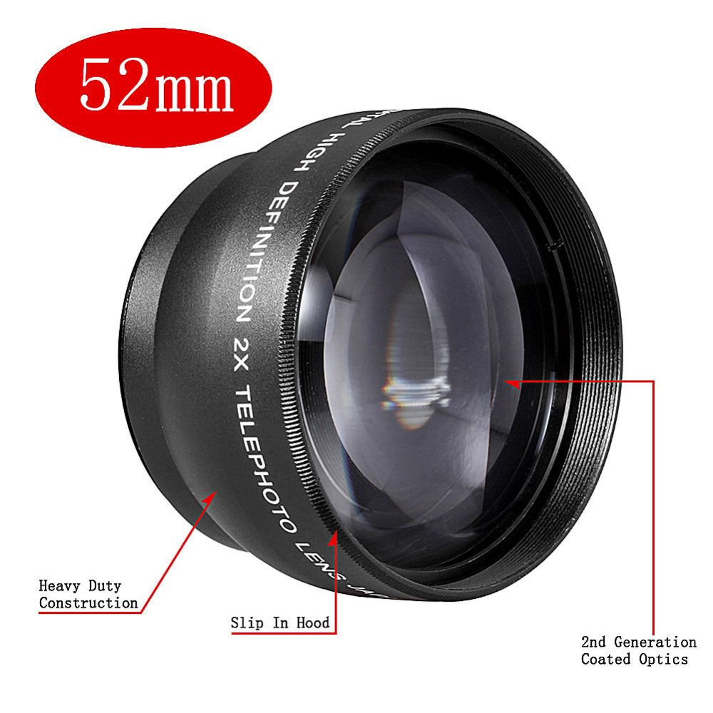 JINTU 52mm 2X Telephoto Telecoverter Lens For NIKON D80 D90 D3100 D5100 D7000 D7100 18-55mm LENS Camera