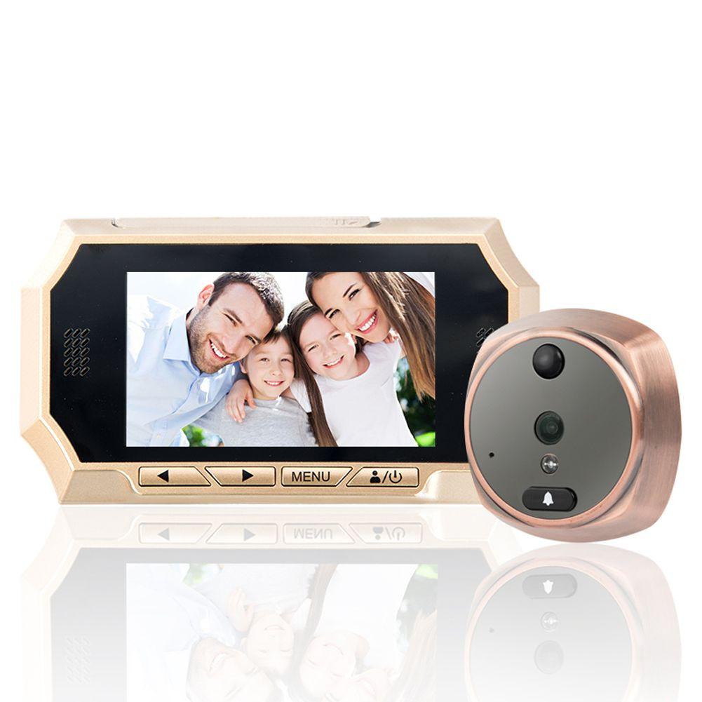 1 компл. 4.3 ''HD Сенсорный экран двери Камера, домофон Системы видео глазок, ЖК-дисплей цифровой домашней безопасности Цвет ИК Камера дверь гла...