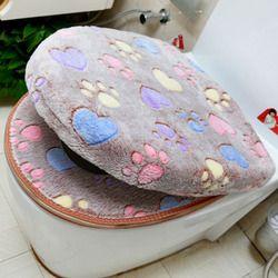 Coral grueso terciopelo lujo cubierta de asiento conjunto caliente suave cremallera/de dos piezas impermeable Baño cubierta WC SWZ051