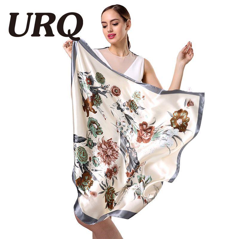 Neue Design Frau Seide Schal 90*90 cm Platz Satin Schals für frauen Kopftuch für Haar Silk haar schal zum schlafen S9A9641