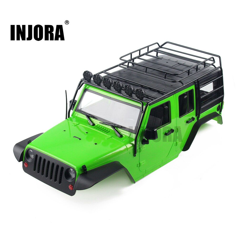 INJORA 7 Color Available 313mm Wheelbase Body Shell+ Metal Roll Cage for 1/10 RC Crawler Axial SCX10 SCX10 II 90046