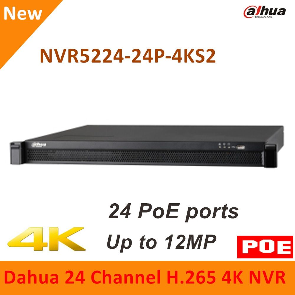 Dahua 4K 24PoE NVR 24 Channel NVR5224-24P-4KS2 4K H.265 Pro Network Video Recorder Up to 12MP Resolution for IP cameras system